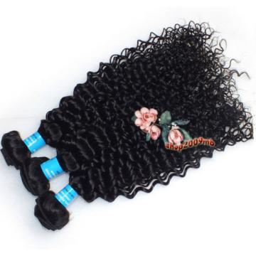 Weave 300g/3 Bundles Kinky Curly Human Hair Extensions Virgin Peruvian Hair Weft