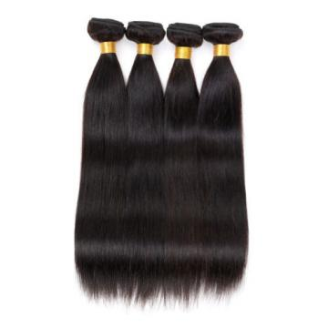 "Peruvian Virgin Human Hair Straight 4""*4"" 1PC Lace Closure with 4 Bundles Hair"