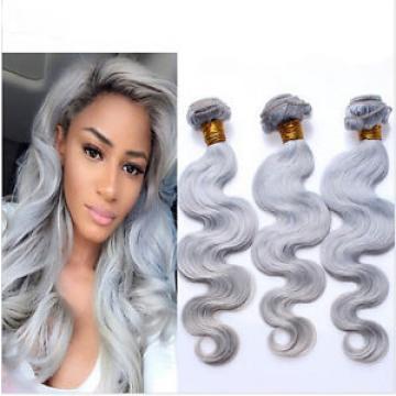 8A Silver Grey Hair Weaves Peruvian Virgin Hair Body Wave Platinum Grey 50G/Per