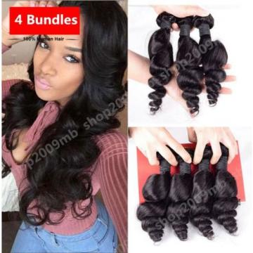4 Bundles Loose Wave Curly Peruvian Virgin Hair Human Hair Extensions Weave Weft