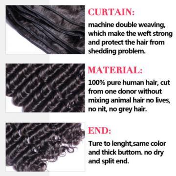 7A Peruvian Virgin Human Hair Deep Wave Curly 4*4 Lace Closure with 3 Bundles