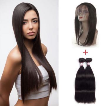 TOP Straight Virgin Hair 360 Lace Frontal with 2 Bundles Peruvian Virgin Hair 8A