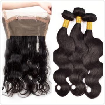 360 Lace Frontal Closure with 3 Bundles 300g Peruvian Virgin Hair Body Wave Weft