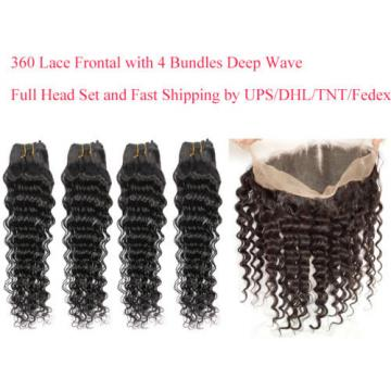 Peruvian Virgin Hair 360 Lace Frontal Band Closure with 4 Bundles/200g Deep Wave