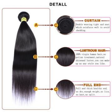 "4 Bundles 18"" Remy Virgin Peruvian Straight Human Hair Weave Extensions 200g"