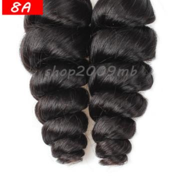 8A 3 Bundles Loose Wave Curly Peruvian Virgin Human Hair Extensions Weave Weft