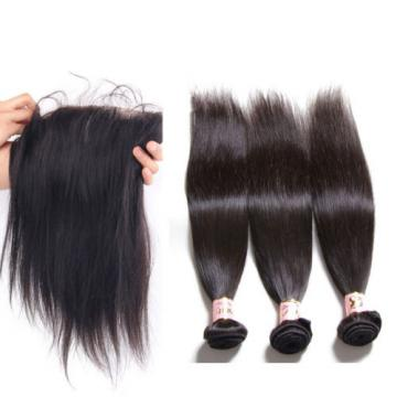 13x4 Lace Frontal With Peruvian Virgin Human Hair Straight Weft 3 Bundles