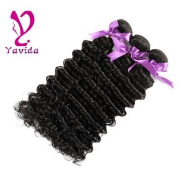 300g/3 Bundles 7A Virgin Peruvian Deep Wavy Wave Curly Human Hair Weft Extension