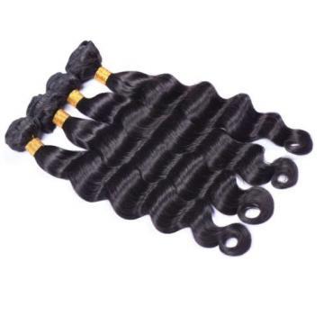 4Bundles 1b Brazilian Virgin Human Hair Extensions Loose Deep Wave Hair Weave