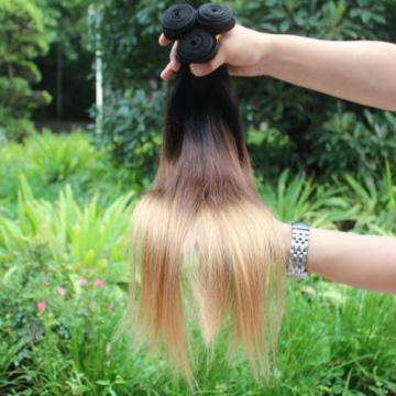 3 bundles Ombre #1b#4#27 Peruvian Virgin Hair Straight Human Hair Extensions