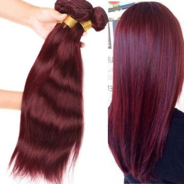 Peruvian Virgin Human Hair Extensions 4 Bundles Straight Human Hair Color 99j