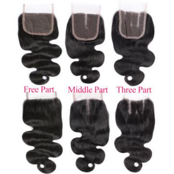 Peruvian Human Virgin Hair Body Wave 4*4 1PC Lace Closure with 4 Bundles