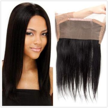 360 Lace Frontal Closure Straight Weave Peruvian Virgin Human Hair Natural Black