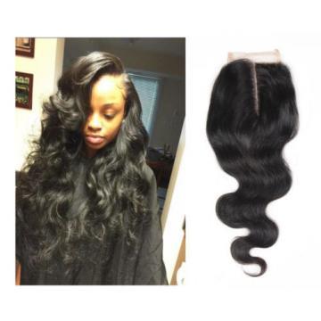 Peruvian Body Wave Lace Closure Top Virgin Human Hair Weave 4X4 Bleached Knots