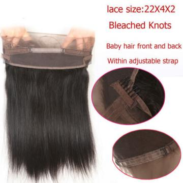 360 Lace Frontal Closure With 4 Bundles Peruvian Virgin Human Hair Silk Straight