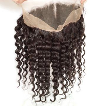 Peruvian Virgin Human Hair Deep Wave 360 Lace Frontal Closure With 4 Bundles