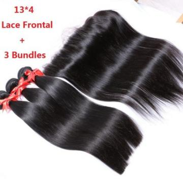 7A Peruvian  Virgin Human Hair Straight 13*4 Lace Frontal Closure with 3 Bundles
