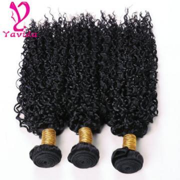 7A 300g Kinky Curly Peruvian Virgin Human Hair Weft Extensions Weave 3 Bundles
