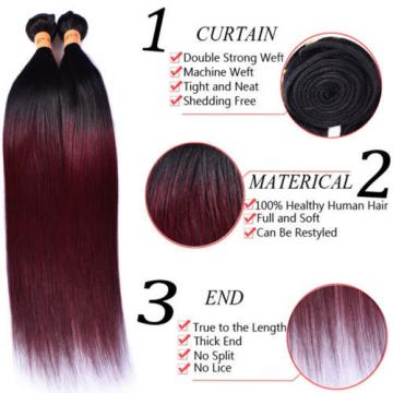 Ombre Color 1B/99J 3 Bundles Straight Real Virgin Peruvian Human Hair Extensions