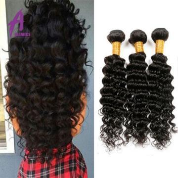 Deep Wave Peruvian Virgin Human Hair Extensions Weave 3 Bundles/300g Curly 7A