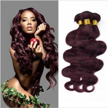 3 Bundles Peruvian Virgin Hair Human Hair Extensions Body Wave #burg 150g all