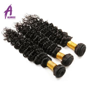 Deep Wave Peruvian Virgin Human Hair Extensions Weave 3 Bundles/300g Curly 7A