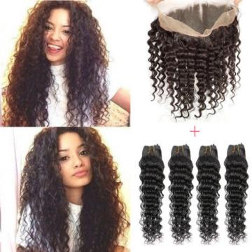 Peruvian Virgin Human Hair Deep Wave 360 Lace Frontal Closure With 4 Bundles