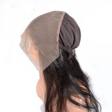 Pre Plucked Peruvian Virgin Human Hair 360 Lace Frontal Band with Wig Cap
