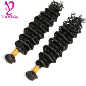 Cheap Deep Wave 2 Bundles 100% Virgin Peruvian Human Hair Extensions Weave 200g