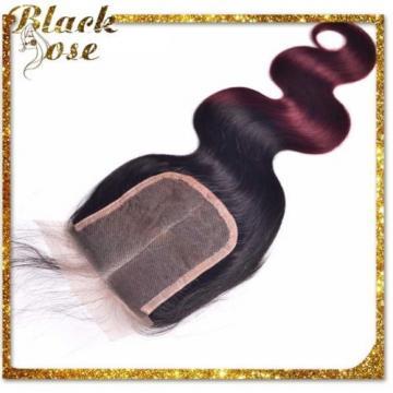7A Peruvian Human Virgin Hair  Body Wave 4*4 Closure with 3 Bundles ombre 1b/99j