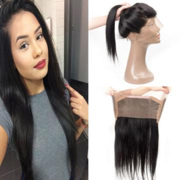 Straight Weave Peruvian Virgin Human Hair 360 Lace Frontal Closure Natural Black