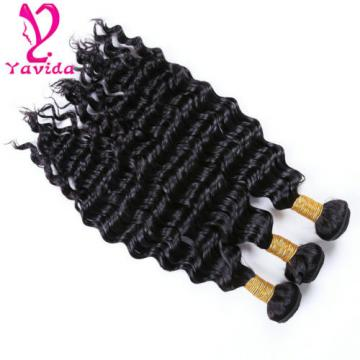 8A Deep Wave Virgin Hair Peruvian Human Hair Bundles 100% Human Hair Extensions