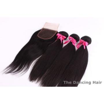 3 bundles Peruvian virgin hair straight with closure natural color dyeable
