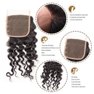 Peruvian Virgin Hair Deep Wave Human Hair Weft 3 Bundles 300g with Lace Closure
