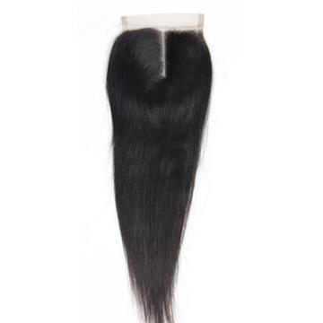 "4""X4"" Lace Closure Peruvian Virgin Human Hair Hairpiece Extensions Natural Black"