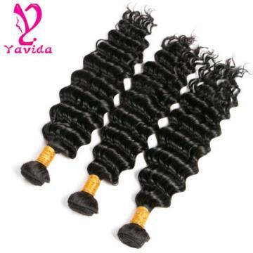7A Deep Wavy Curly Peruvian Virgin Human Hair Extensions Weave 3 Bundles 300G