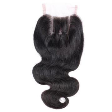 Peruvian Virgin Hair Lace Closure Body Wave 7A 4x4 Human Hair Lace Closure #1b