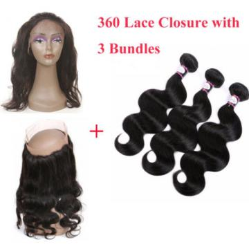 360 Lace Frontal Closure with 3 Bundles Peruvian Virgin Hair Body Wave Full Head