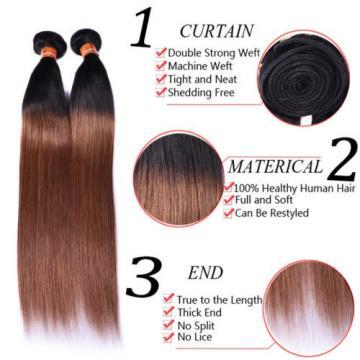 3bundles 300g Brazilian Peruvian Human Hair Weaves Virgin Hair Weft Color T1b/30