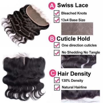 7A Peruvian Body Wave 13*4 Lace Frontal Closure with 2Bundles Virgin Human Hair