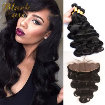 7A Peruvian Human Virgin Hair Body Wave 13*4 Lace Frontal Closure with 3 Bundles