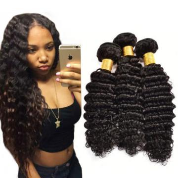 Deep Wave Human Hair Extensions 3 Bundles 300g Peruvian Virgin Hair 8 to 26 Inch