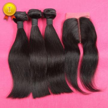 7A Silk Base Closure With Bundles Peruvian Virgin Hair Straight With Closure