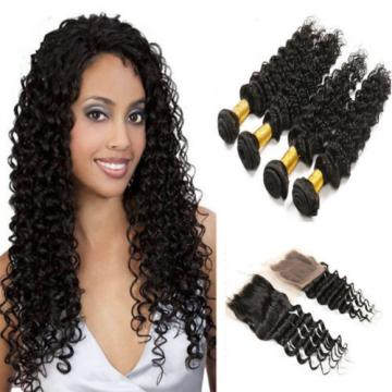 "1 PC  8"" Peruvian Human Virgin Hair Deep Wave 3.5*4 Lace Closure with 3 Bundles"