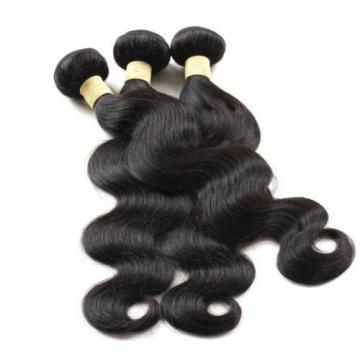 "4x4"" Lace Closure W/ 3pcs Human Hair Bundles Unprocessed Peruvian Virgin Hair 1B"