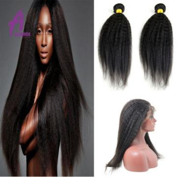 2 Bundle Kinky Straight With 360 Lace Closure Peruvian Virgin Human Hair Weave