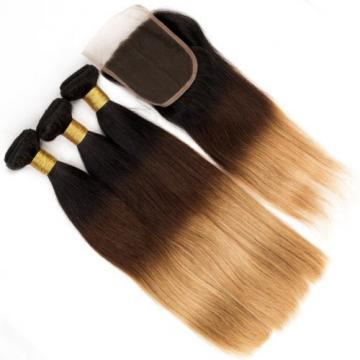3 Bundles Ombre Peruvian Virgin Hair Straight Weave Human Hair with 1 pc Closure