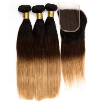 3 Bundles Ombre Peruvian Virgin Hair Straight Weave Human Hair with 1 pc Closure