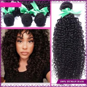 1b Black 300g/3 Bundles Kinky Curly Human Hair Weft Virgin Peruvian Hair Weave