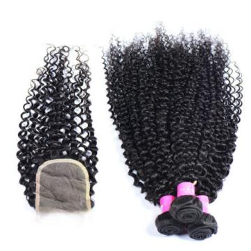 3 Bundles Curl Hair Weft with Lace Closure Virgin Peruvian Human Hair Weave